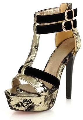 SaraIris Women's T-Strap Elegant Platform Stiletto Heel Buckle Double Strap Sandals