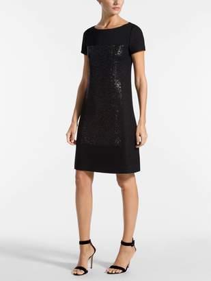 St. John Shimmer Basket Knit Short Sleeve Dress