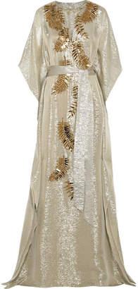 Oscar de la Renta - Embellished Metallic Silk-blend Lamé Gown - Gold