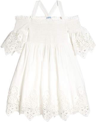 Mayoral Lace-Trim Off-the-Shoulder Smocked Dress, Size 8-16