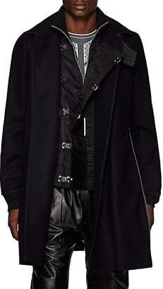 Sacai Men's Wool Melton & Tech-Satin Triple-Closure Topcoat