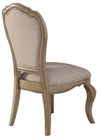 Acme ACME Chelmsford Side Dining Chair - Antique Taupe and Beige Fabric