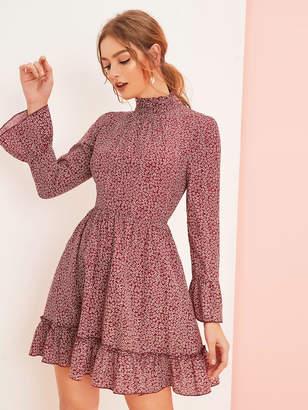 Shein Ditsy Floral Print Bell Sleeve Layered Hem Dress