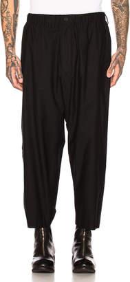 Yohji Yamamoto Back Flap Elastic Pants in Black   FWRD