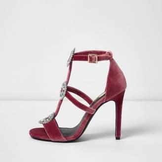 River Island Womens Pink velvet rhinestone caged sandals