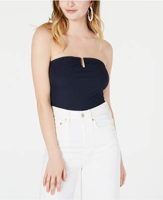 Material Girl Juniors' Strapless U-Ring Rib-Knit Bodysuit
