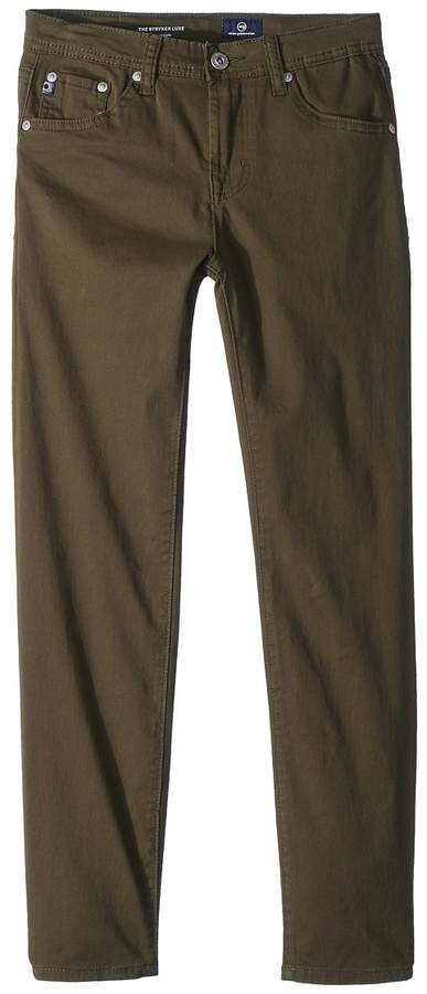 AG Adriano Goldschmied Kids The Stryker Luxe Slim Straight Sueded Twill in Green Flash Boy's Jeans