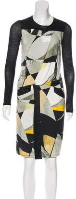 Helmut Lang Printed Long Sleeve Dress