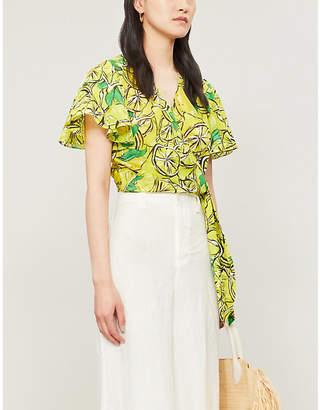 Diane von Furstenberg Hailey lemon-print cotton and silk-blend top