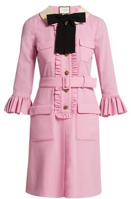 Gucci - Ruffle Trimmed Wool Dress - Womens - Pink