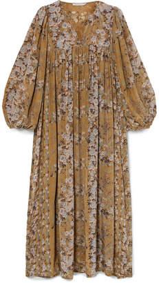 Mes Demoiselles Jalon Floral-print Crepe Midi Dress - Sage green