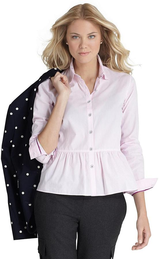 Brooks Brothers Ruffle Peplum Shirt