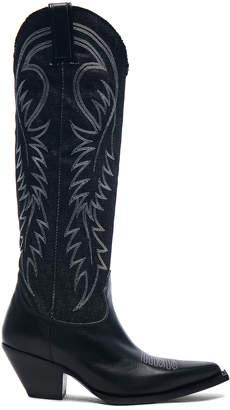 R 13 Denim Cowboy Mid Straight Cowboy Boots