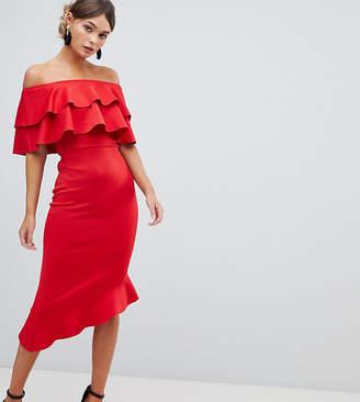 Bardot Silver Bloom Frill Front Midi Dress