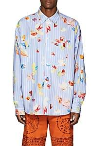 Acne Studios Men's Glanni Striped & Gum-Print Cotton Oversized Shirt - Blue