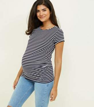 New Look Maternity Blue Stripe Short Sleeve T-Shirt