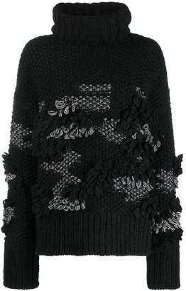 McQ patchy knit turtleneck jumper