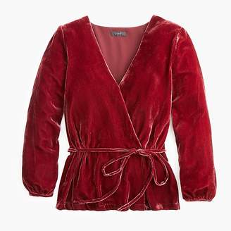 J.Crew Tall faux-wrap top in drapey velvet