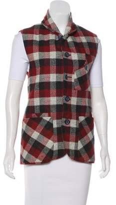 Oliver Spencer Wool Plaid Print Vest