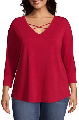 Boutique + + 3/4 Sleeve Cross Front T-Shirt - Plus