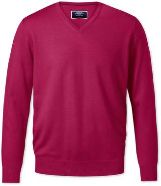 Charles Tyrwhitt Dark Pink V-Neck Merino Wool Sweater Size XXL