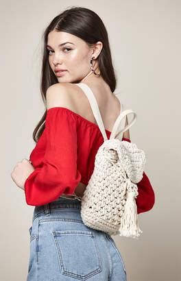 La Hearts Cream Crochet Backpack