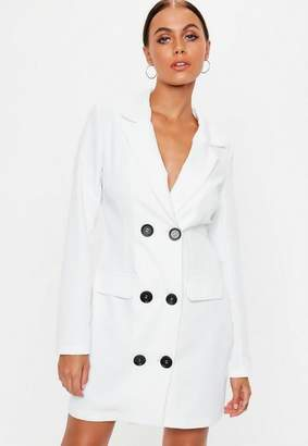 Missguided White Double Breasted Blazer Dress, White