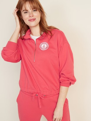 Old Navy French Terry Logo-Graphic 1/4-Zip Drawstring-Hem Pullover for Women