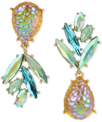 Betsey Johnson Gold-Tone & Stone Pineapple Mismatch Drop Earrings