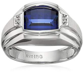 Men's Sterling Silver Created Sapphire Ring with Diamond Accent Ring