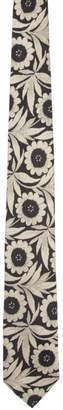 Dries Van Noten Off-White and Black Silk Flower Tie
