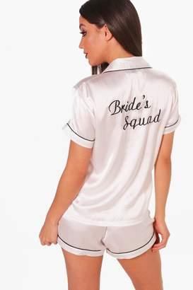 boohoo 'Brides Squad' Satin Short Set