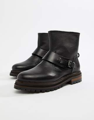 Hudson London Black Leather Biker Ankle Boot with Buckle