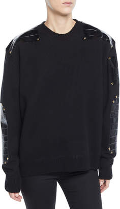 Givenchy Leather-Trim Crewneck Sweater