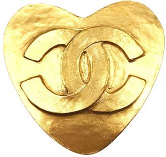 24K Gold Plated CC Heart Brooch