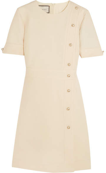 Gucci - Faux Pearl-embellished Wool And Silk-blend Mini Dress - Cream