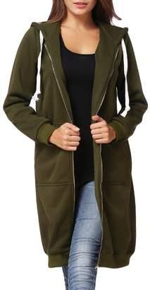 Romacci Women Hoodie Long Hooded Sweatshirts Coat Casual Pockets Zip up Solid Outerwear Jacket