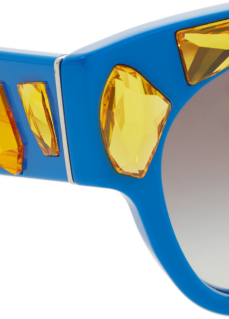Prada Crystal-embellished cat-eye acetate sunglasses