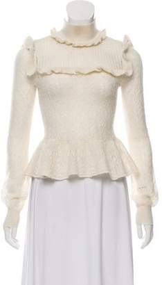 Intermix Ruffle-Accented Mock Neck Sweater