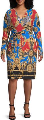 Bold Elements Long Sleeve Brocade Wrap Dress-Plus