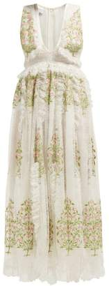 Giambattista Valli Floral Embroidered Lace Gown - Womens - Ivory Multi