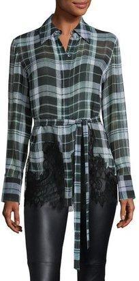 McQ Alexander McQueen Fluid Tartan Plaid Silk Blouse, Green $610 thestylecure.com