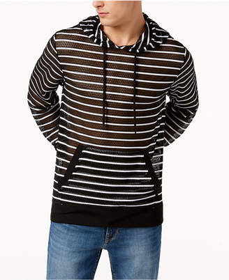 GUESS Men's Striped Mesh Hoodie