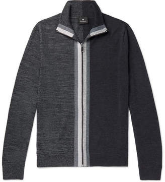 Paul Smith Colour-Block Merino Wool Zip-Up Cardigan