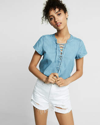 Express Petite Denim Short Sleeve Lace-Up Top