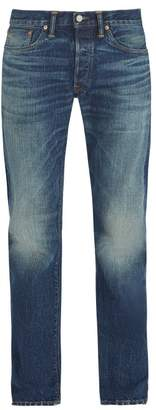 Rrl - Low Rise Straight Leg Stonewash Jeans - Mens - Blue