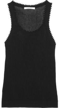 Carven Ribbed Stretch-Knit Cotton And Silk-Blend Tank