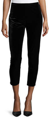 Joan Vass Plus Size Velour Ankle Leggings