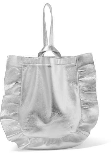 Loeffler Randall - Ruffled Metallic Textured-leather Wristlet Bag - Silver
