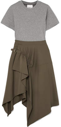 3.1 Phillip Lim Asymmetric Cotton-jersey And Wool-gabardine Dress - Army green